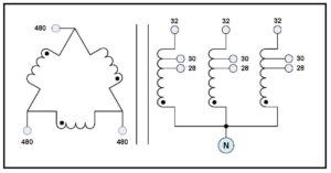 DELTA-WYE TRANSFORMER, 0.075 KVA, PRIMARY 480 VAC
