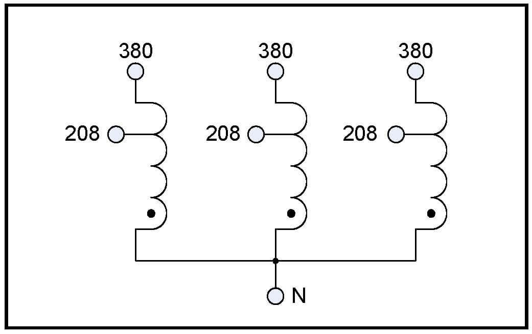 BUCK TRANSFORMER, 40 KVA, INPUT 380 VAC, OUTPUT 208 VAC, P