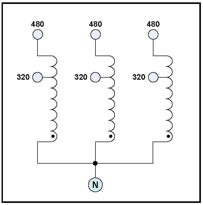 BUCK TRANSFORMER, 85.2 KVA, INPUT 480 VAC, OUTPUT 320 VAC
