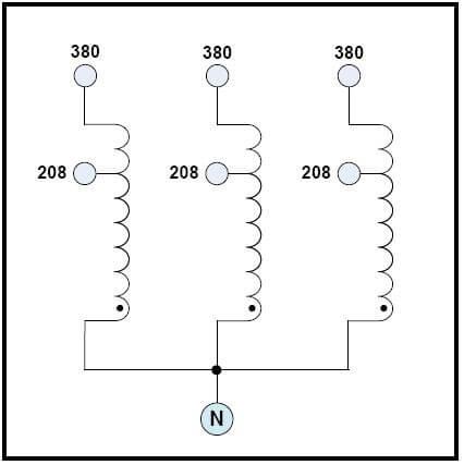 THREE PHASE BOOST TRANSFORMER, 50 KVA, INPUT 208 VAC