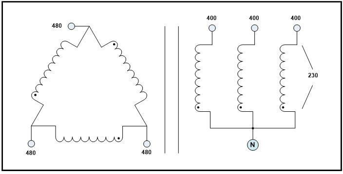DELTA-WYE TRANSFORMER, 0.1 KVA, PRIMARY 480 VAC, SECONDARY