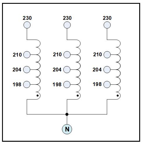 THREE PHASE BOOST TRANSFORMER, 20 KVA, INPUT 198/204/210