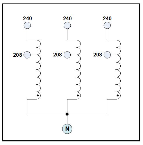 THREE PHASE BUCK TRANSFORMER, 20 KVA, INPUT 208 VAC