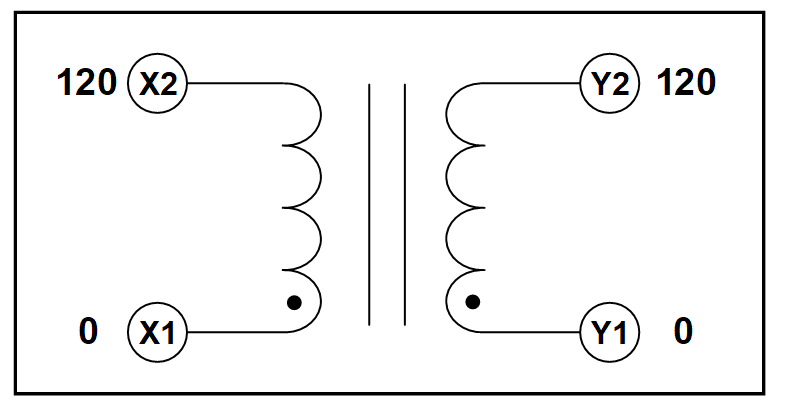 SINGLE PHASE ISOLATION TRANSFORMER, 3.6 KVA, P/N 19309N