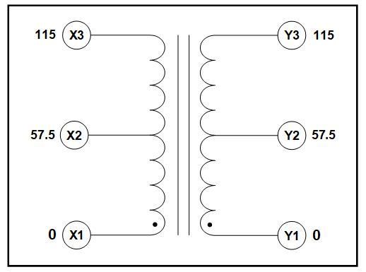 400 HZ CENTER TAP TRANSFORMER, 1.75 KVA, PRIMARY 57.5/115