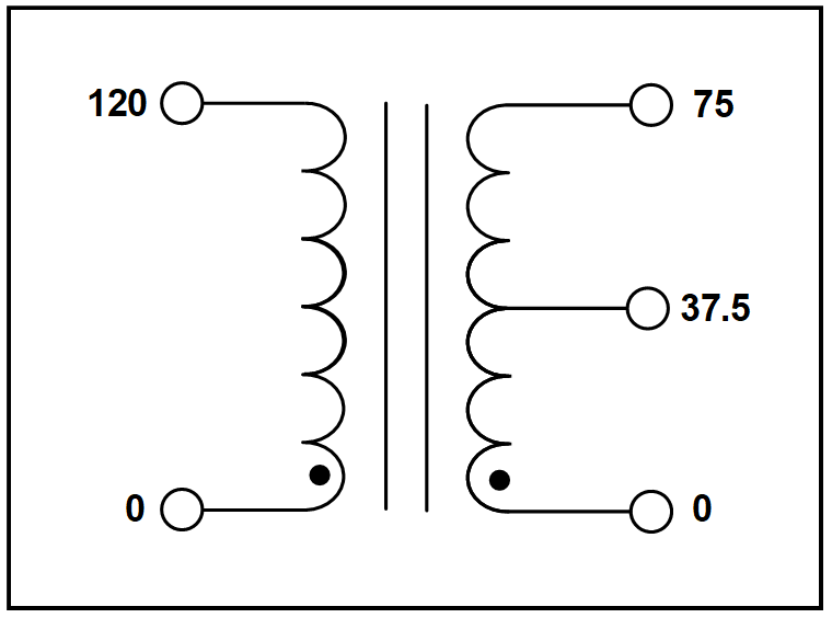 CENTER TAP TRANSFORMER, 2 KVA, PRIMARY 120 VAC, SECONDARY