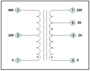 SINGLE PHASE ISOLATION TRANSFORMER, 0.63 KVA, P/N 19612