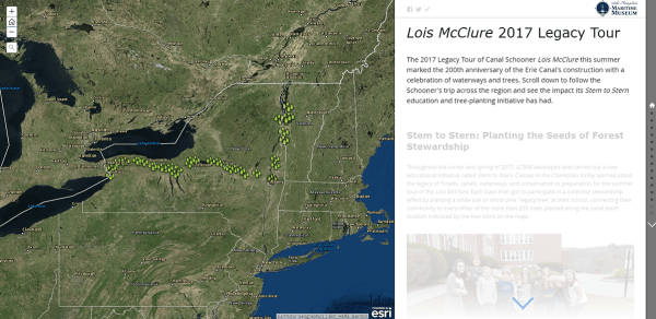 Screenshot of ARCGIS page for  2017 Legacy Tour of Canal Schooner Lois McClure