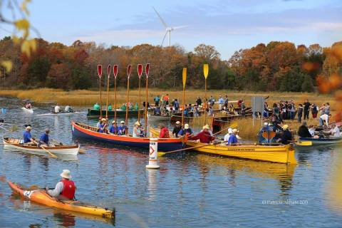Rowers get ready in boats on water