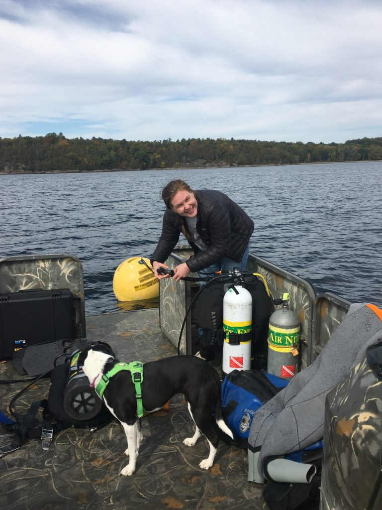 Person prepares dive equipment with a dog nearby