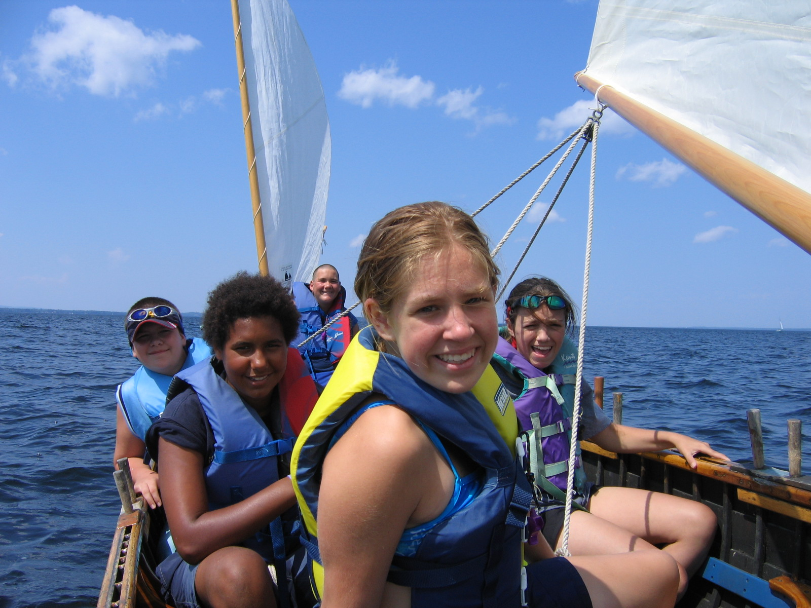 Five teens sail on Lake Champlain
