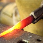 Metal knife being formed