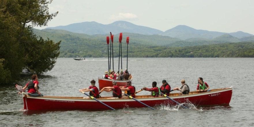 Rowers set off in the Annie O pilot gig boat