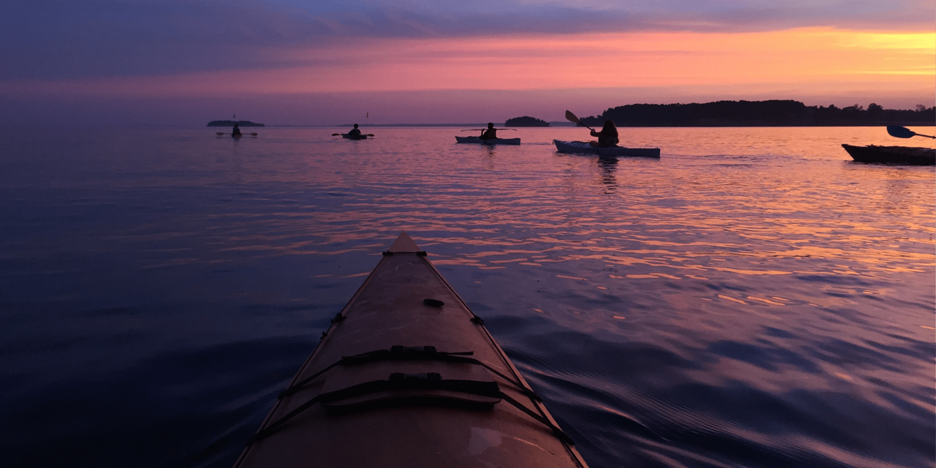 Kayaking on Lake Champlain at sunrise