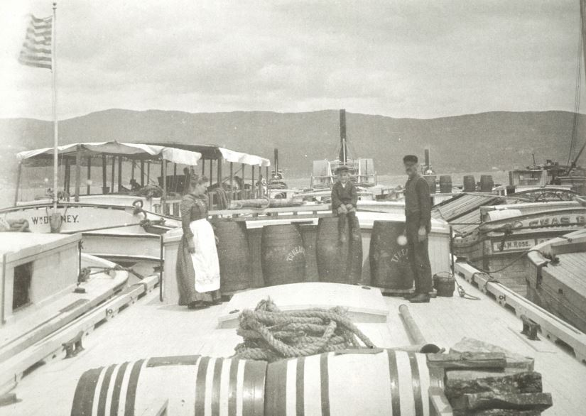 A black and white photograph from 1890 of three people on the main deck of a canal boat. On the left is a white woman wearing a long dark dress and white apron, looking down to her side. In the middle, a small white boy sits on a barrel wearing a cap and smiling towards the camera. On the right, a white man wearing dark shirt and pants and a cap stands  towards the boy with his face directed towards the camera. Around the background are other canal boats tied to their boat and a tugboat in the background.