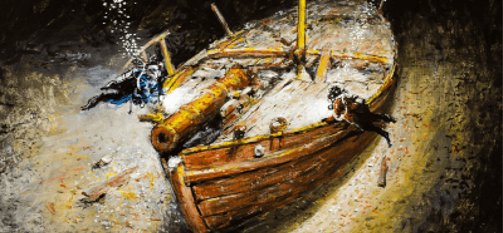 A close-up of of Ernie Haas' painting of the gunboat Spitfire
