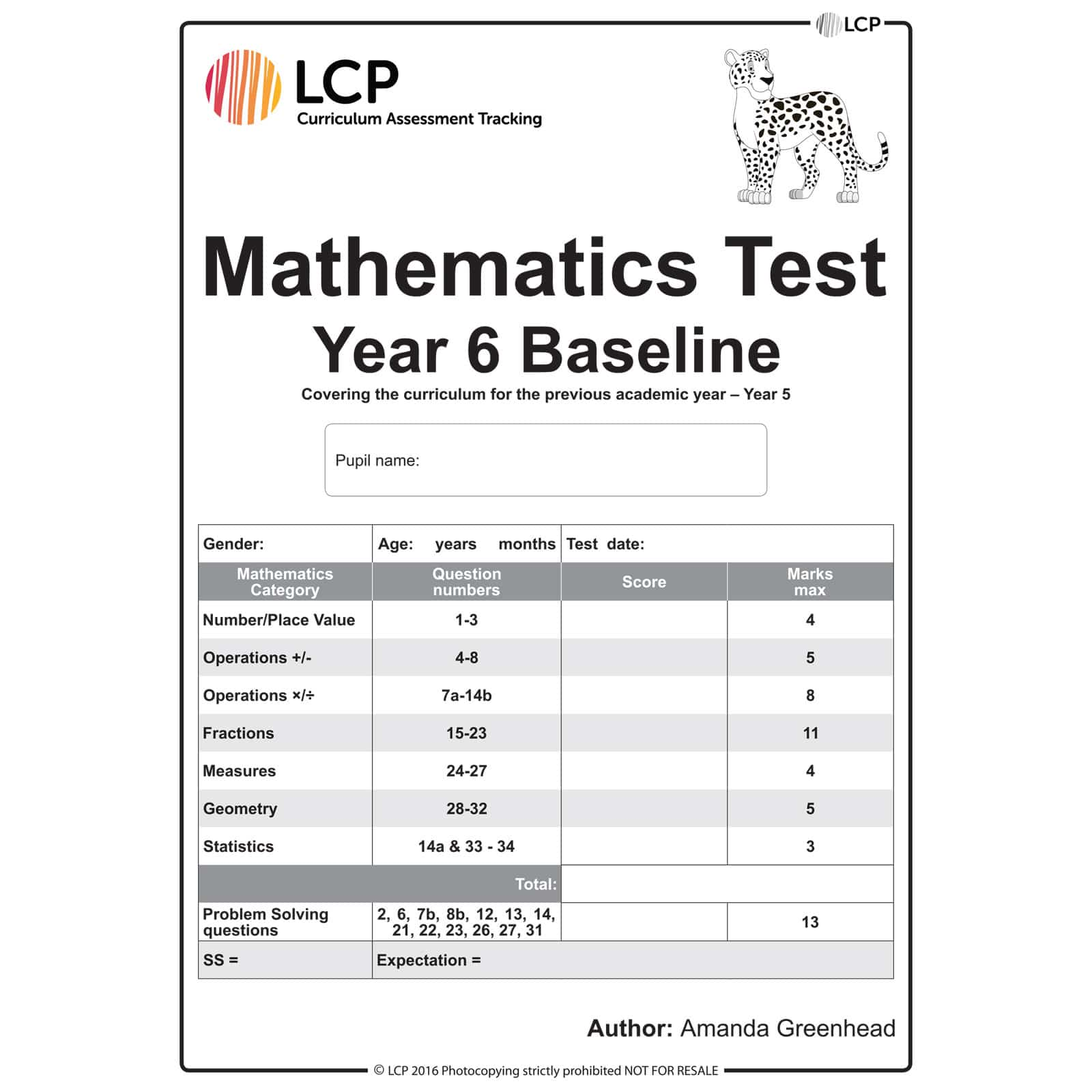 Maths Baseline Year 6 Class Pack Of 30 Papers