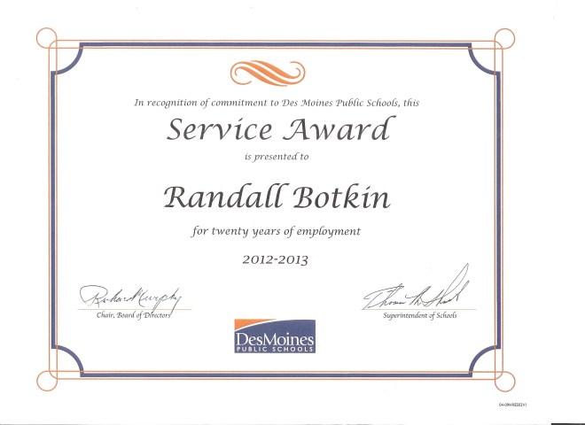 Randy Botkin DMPS Service Award