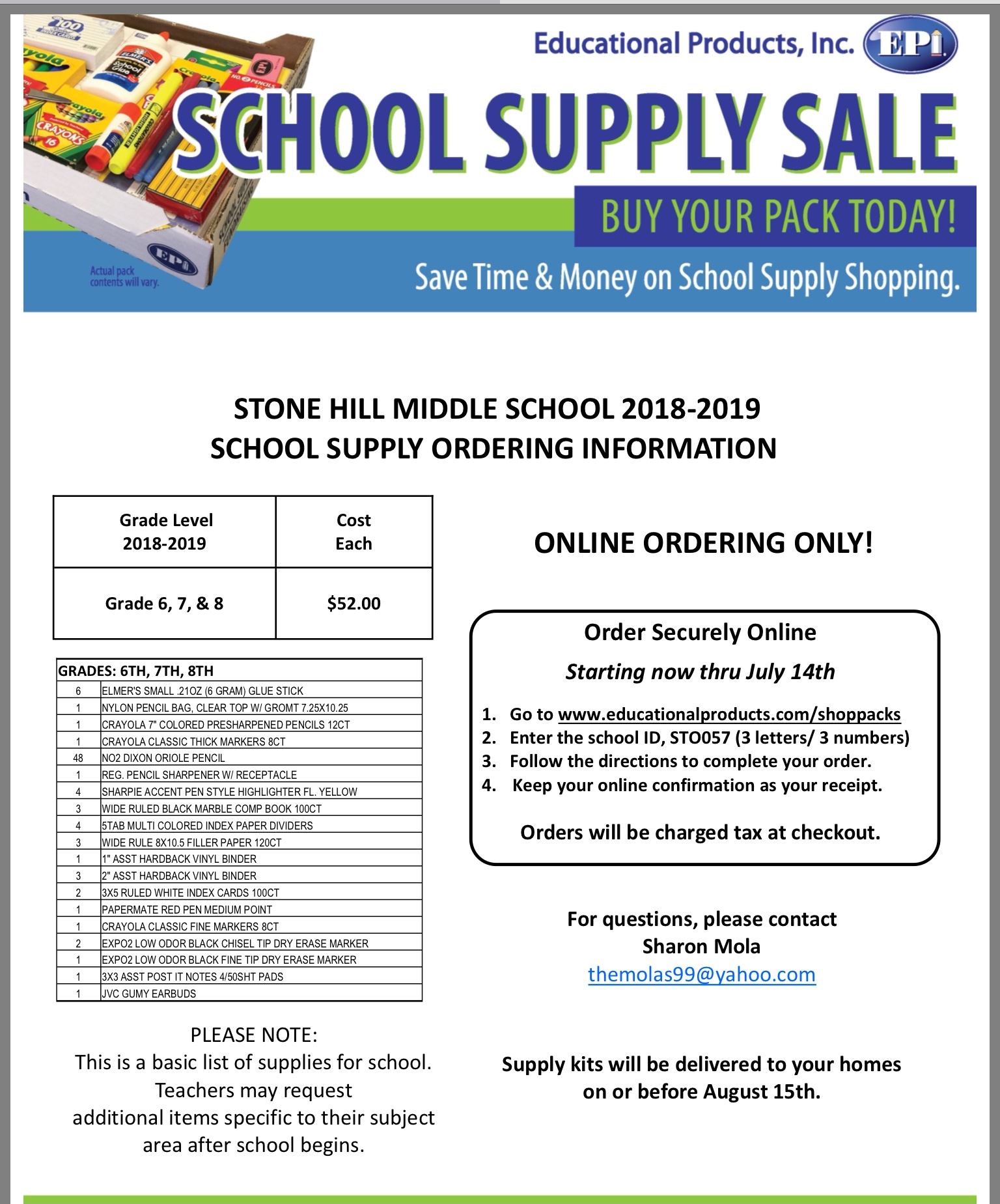 hight resolution of Eagles Landing Middle School 7th Grade Supply List - School Style
