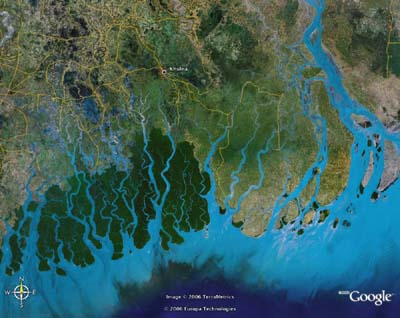 Sundarban delta as seen from space
