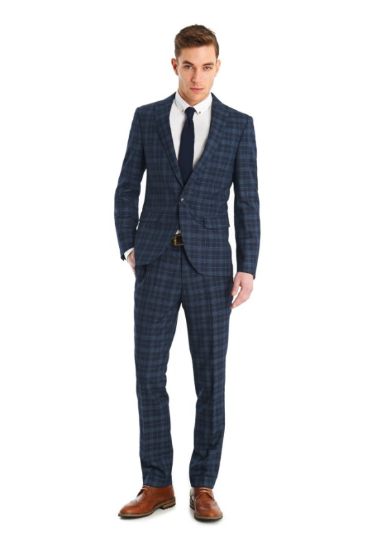 VENTUNO SLIM FIT MOSS BLUE CHECK 2 PIECE SUIT
