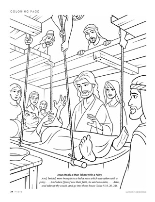 Paralyzed Man Through Roof Bible Coloring Pages Pictures