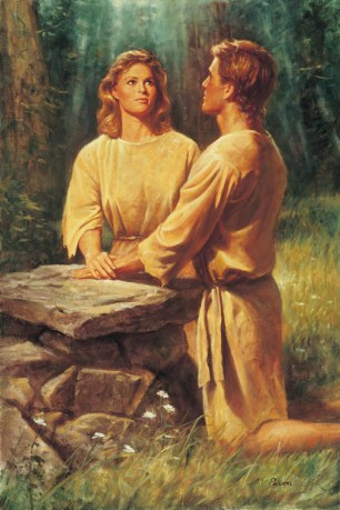 Adam and Eve Kneeling at an Altar, by Del Parson