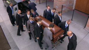 Elder Scott's casket arrives at the Tabernacle.