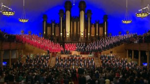 The Mormon Tabernacle Choir sang three pieces. They opened with I Know That My Redeemer Lives and closed with Come Thou Found of Every Blessing.
