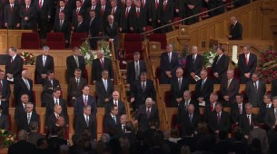 Members of the Quorum of the Twelve Apostles exit the Tabernacle.