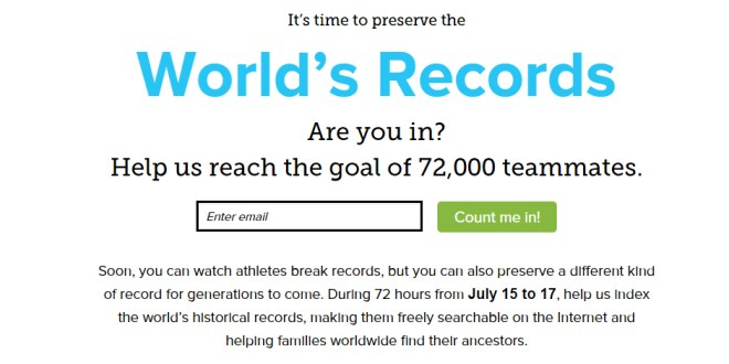 Without You, Your Ancestors are History: Join the Worldwide Indexing Event