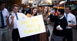 """LDS Missionaries Take to the Street and Ask: """"What Are You Thankful For?"""""""