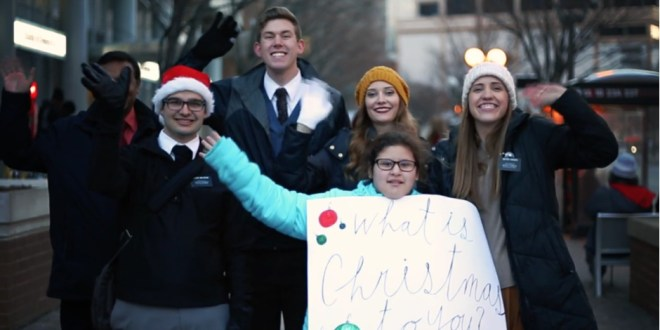 """LDS Missionaries Take to the Street to Ask: """"What is Christmas to You?"""""""