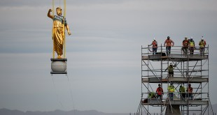 Angel Moroni Statue and Capstone Removed from Salt Lake Temple