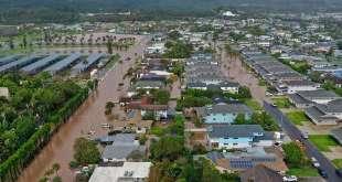Torrential Rain Causes Flooding in Laie, Hawaii