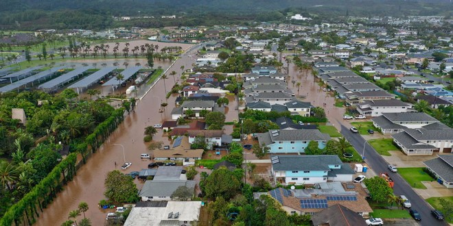 Torrential Rain Causes Flooding in Laie, Hawaii
