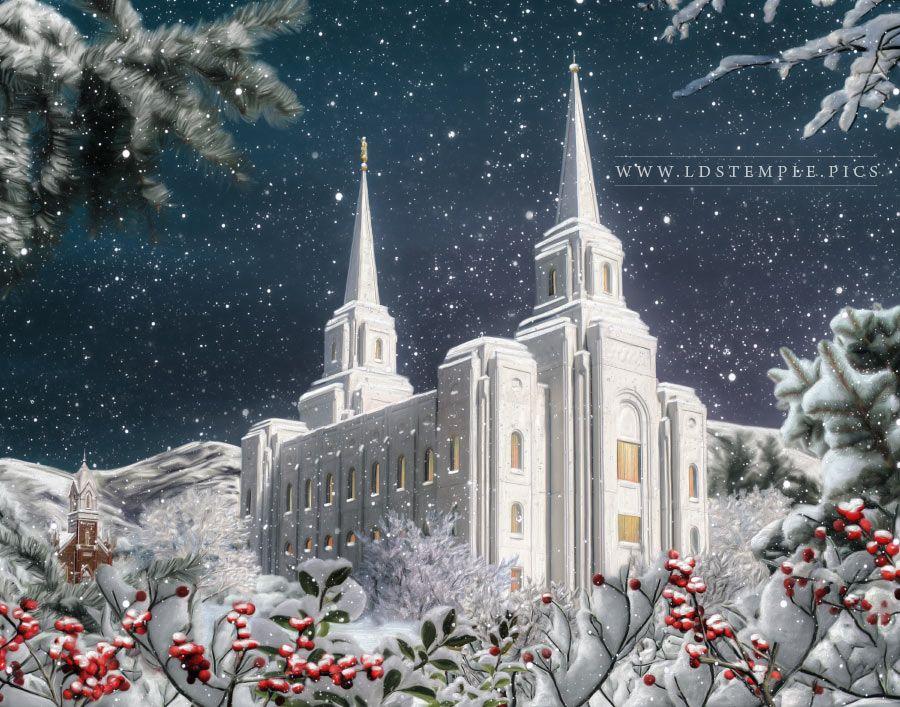 Brigham City Temple Winter Wonderland Painting  LDS