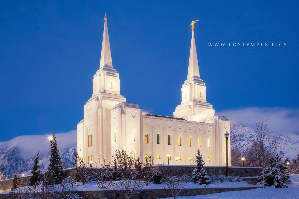 Brigham City Temple Winter Twilight  LDS Temple Pictures