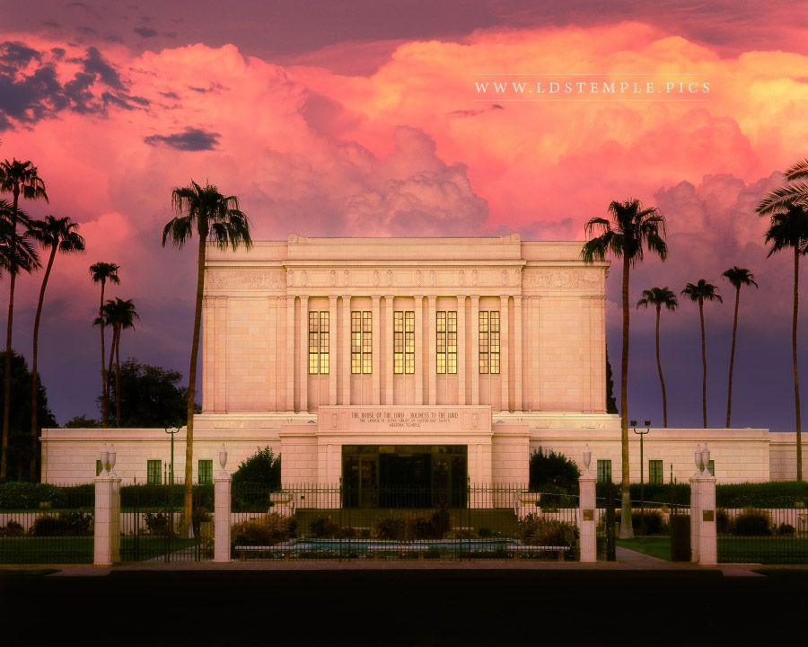 Mesa Temple Storm Clouds  LDS Temple Pictures