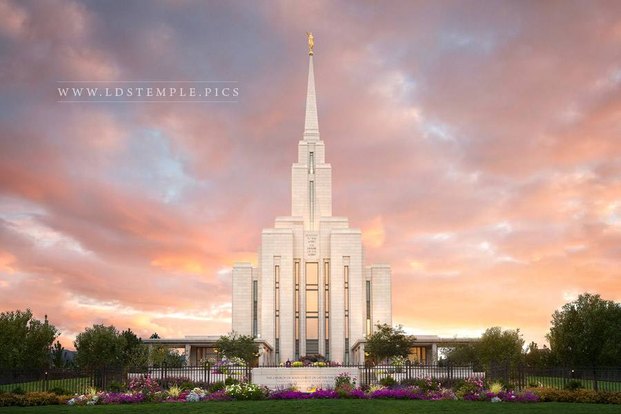 Oquirrh Mountain Temple Summer Sunset  LDS Temple Pictures