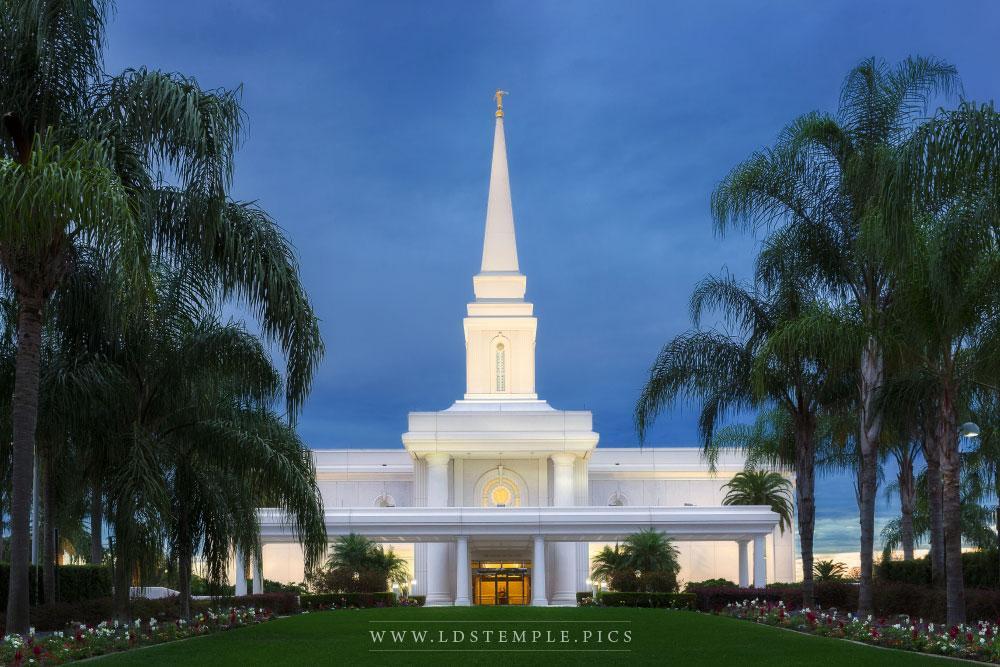Orlando Temple Entrance Twilight  LDS Temple Pictures