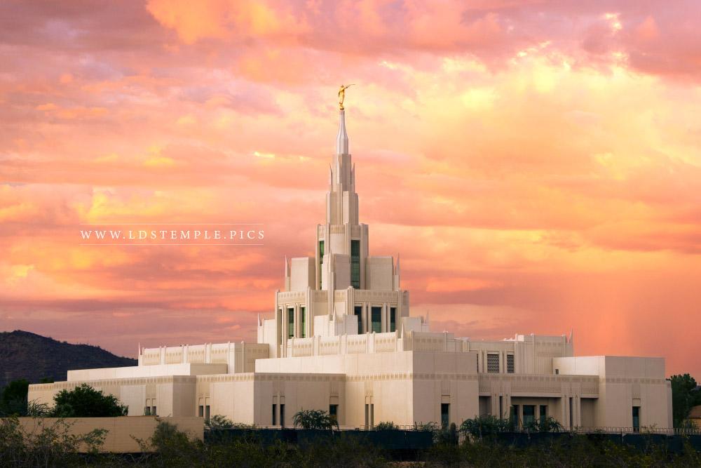 Phoenix Temple Monsoon Sunset  LDS Temple Pictures