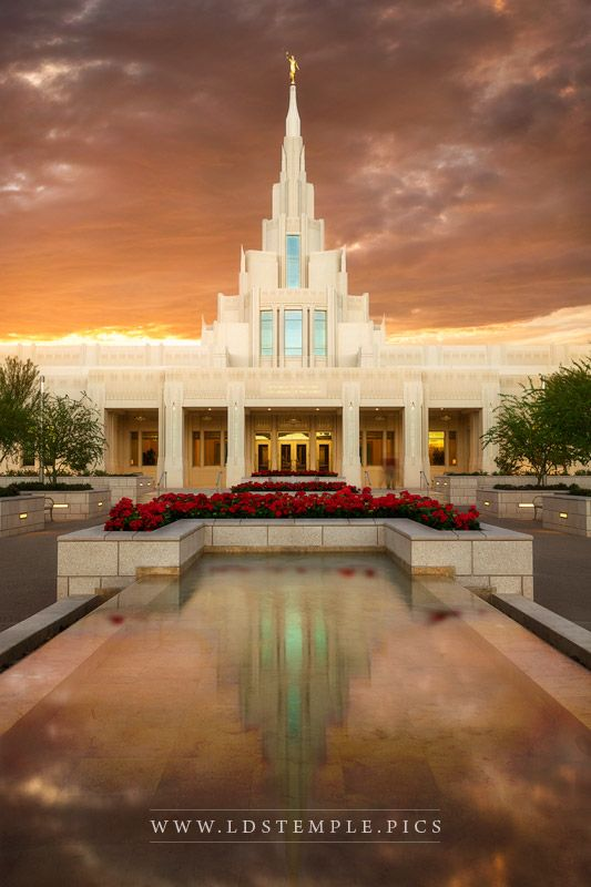 Phoenix Temple Reflecting Pool Sunset Vertical  LDS