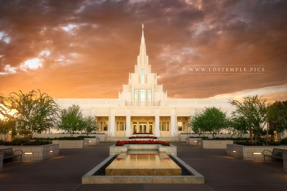 Phoenix Temple Reflecting Pool Sunset  LDS Temple Pictures