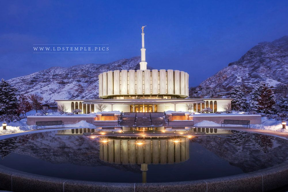 Provo Temple Winter Twilight  LDS Temple Pictures