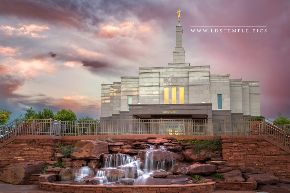 Snowflake Temple Sunset  Waterfall  LDS Temple Pictures