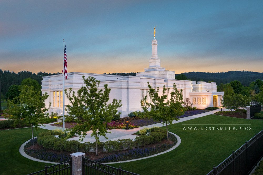 Spokane Temple Evening  LDS Temple Pictures