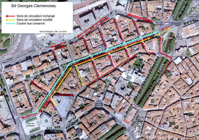 PERPIGNAN : Le nouveau plan de circulation sur le boulevard Clemenceau