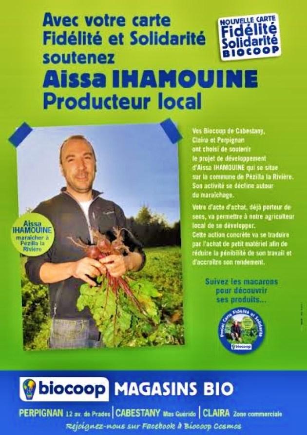 Biocoop Cabestany Aissa Ihamouine, maraîcher bio à Pézilla de la Rivière.