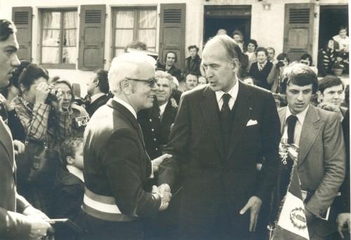 28 Mars 1976,Valérie Giscard d'Estaing inauguration du tunnel auto-routier à St Marie aux Mines